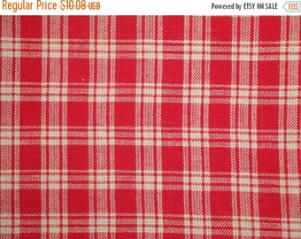 40% OFF SALE Basic Plaid Red Cotton Homespun Fabric Destash 63 x 44