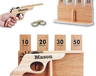 Ring Bearer Gift, Wedding, Custom Personalized Engraved Wooden Rubber Band Gun, Gun and Target Set, Groomsmen, Birthday, Christmas Gift