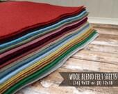 Wool Felt Sheets - You Choose Size 16 - 9x12 or 8 - 12x18