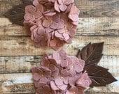 Wool Felt Hydrangea - Cameo Pink Set of 2 Featuring Bronze Metallic Wool Felt