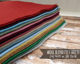 Wool Felt Fabric Sheets - You Choose Size 16 - 9x12 or 8 - 12x18