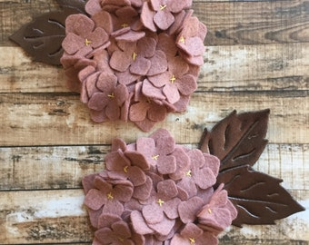Wool Felt Hydrangea - Cameo Pink Set of 2 Featuring Bronze Metallic Wool Felt