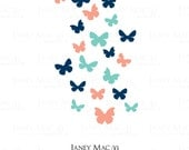 Butterfly Wall Decal Set - Vinyl Wall Art Butterflies - Girls Nursery Wall Art - Butterfly Wall Sticker - CG107A