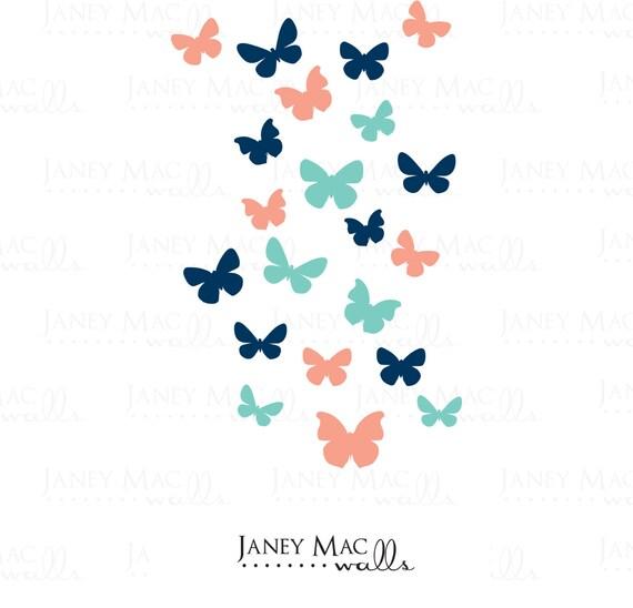 Butterfly Wall Decal Set - Vinyl Wall Art Butterflies - Girls Nursery Wall Art - Butterfly Wall Sticker - CG107A