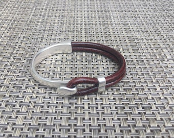 Silver Hook & Brown Leather Half Cuff Bracelet