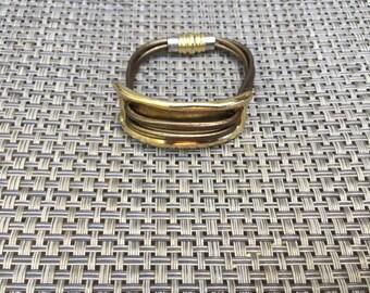 Brass Cuff with Metallic Bronze Leather