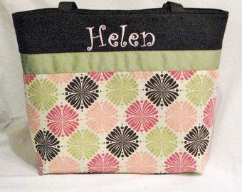 Personalized Diaper Bag . Regular size . Star Flowers and Green . monogrammed FREE . girl diaper bag . knitting tote . personalized tote