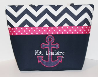 Anchor Diaper Bag . Weekender / XL . Navy Blue Chevron and Hot Pink . DESIGN Your OwN . Nautical diaper bag monogrammed FREE . personalized