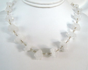 Rock Crystal Necklace - White Necklace - Statement Necklace - Everyday Necklace - Wedding Jewelry