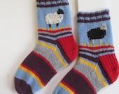 handknit socks, ankle socks,black sheep socks , thick socks, slipper socks purple, gray,gold red and blue stripes, soft acrylic