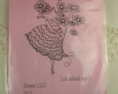 Stamping Bella Bessie LULU Flower Girl with Dress Cling Mount Rubber Stamp Unmounted Spring Summer Gently Used Whimsical Prom Baby Daisy