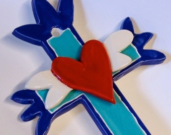 ceramic Cross with sacred heart w/ wings blue pottery cross for collectors Mexican Folkart