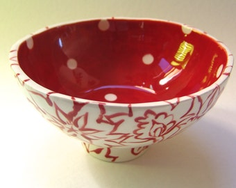 red & white pottery Rice Bowl with whimsical polka-dots hand-painted floral design Snack Dish