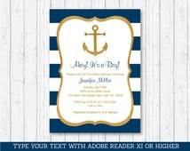 Nautical Baby Shower Invitation / Anchor Baby Shower Invitation / Gold Glitter / Editable PDF INSTANT DOWNLOAD