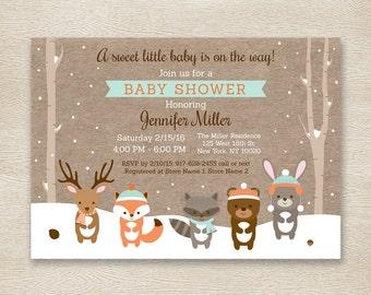 Winter Woodland Baby Shower Invitation / Forest Animals / Birch Tree / Winter Baby Shower / Snowy Forest / Gender Neutral PRINTABLE A111