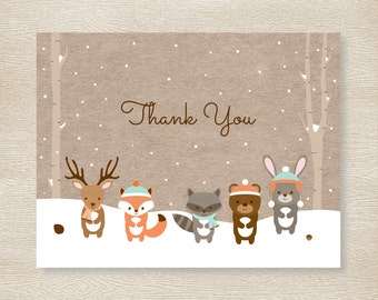 Winter Woodland Forest Animals Thank You Card / Woodland Baby Shower / Folded Card Template / PRINTABLE Instant Download A111