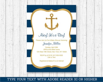 Nautical Baby Shower Invitation / Anchor Baby Shower Invitation / Gold  Glitter / Editable PDF INSTANT