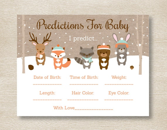 winter woodland animals baby predictions game / winter woodland, Baby shower invitations