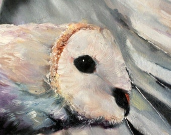 "Oil Painting 8x8"" 50% Off Original Enchanted Barn Owl Bird Messenger Pure Spirit Fine Oil Painting"