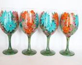 Wine Glasses Hand Painted Turquoise, Orange, Magenta Flowers