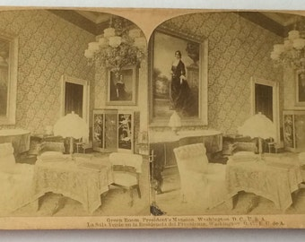 Vintage Stereoview Green Room President's Mansion White House Washington DC 1899