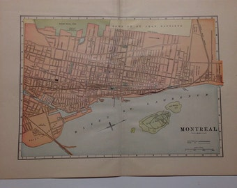 Antique 1897 Montreal City Map