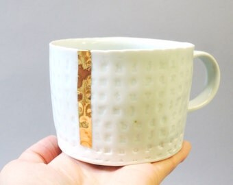 Gold stripe - porcelain cup with translucent bottom