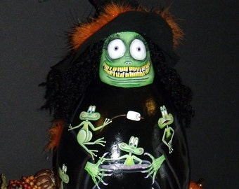 "Lg. 18"" Tall Ugly Witch Gourd and Frogs and Cauldron - Hand Painted - Original Design - Whimsical Witch - Decorative Painting - Halloween"
