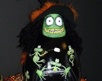 """Lg. 18"""" Tall Ugly Witch Gourd and Frogs and Cauldron - Hand Painted - Original Design - Whimsical Witch - Decorative Painting - Halloween"""