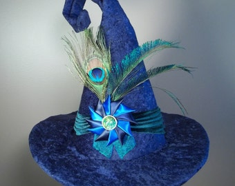 Witch Hat Made to Order Halloween Costume Accessory Cosplay Millinery Blue velvet Green Velvet Peacock Cockade