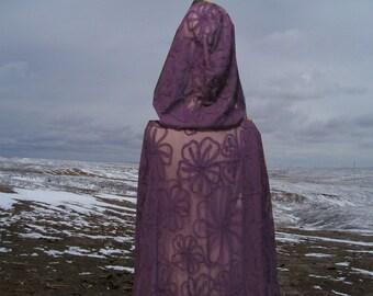 Purple Cloak -Rosette Chiffon Medieval Wedding - Renaissance Festival - Costume - Halloween