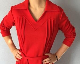 Vintage Red Dress - Bleeker Street - Long Sleeve Architectural Sheath Dress