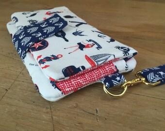 Nautical Wallet Clutch- Hello Sailor- Pearl Wallet by Swoon Patterns- Handmade- Wristlet Wallet- Large Bifold Wallet- iPhone Wallet- KYEbags
