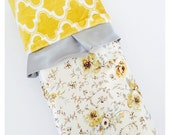 BABY BLANKET  /  Nature satin print with yellow Marakesh minky print and silver trim  / Beautiful and unique baby shower gift