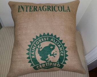 Reclaimed burlap coffee bean bag pillow with a rainforest frog motif