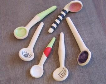 Your Choice ONE Ceramic Salt Spoon, Handmade Spoon for Spices or Salt, Small Pottery Spoon