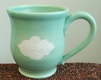 Large Pottery Coffee Mug with Fluffy Clouds 16 oz. Cloud Mug - Stoneware Ceramic Cup in Mint Green