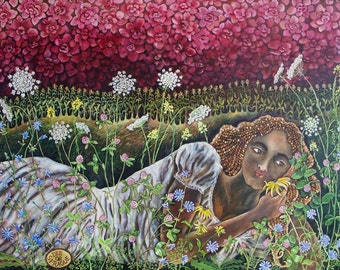 Let Me Paint YOU as a Wild Flower Goddess Painting by Dee Sprague