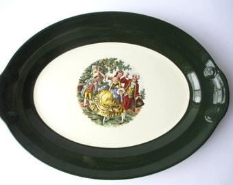 Vintage Taylor Smith & Taylor Green Victorian Style Serving Platter - Retro