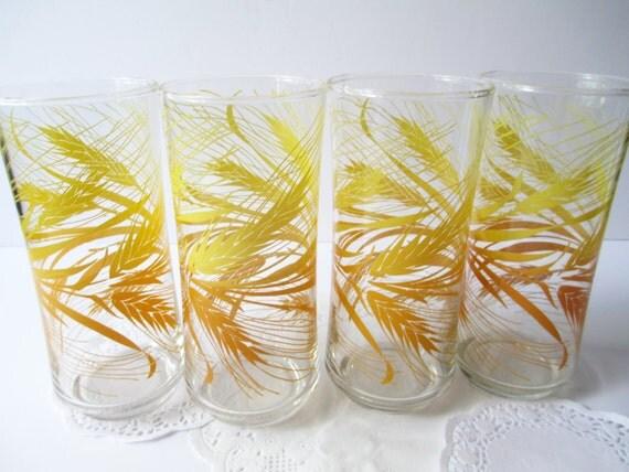 Libbey Golden Wheat Iced Tea Glasses Set of Four - Retro Vintage