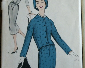 Vintage Sewing Pattern 1950s Vogue Womens Dress Pattern With Jacket  Sz11