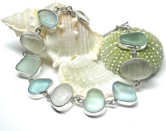 Bezel Set Sea Glass Bracelet | Sterling Silver Sea Glass Bracelet | Sea Glass Bracelet | Seaglass Bracelet | Beach Glass Bracelet |