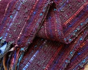 handwoven scarf marsala bordeaux lightweight and narrow