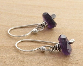 Minimalist Earrings, Amethyst Earrings, Purple Earrings, February Birthday, Rustic Gemstone Earrings, Faceted, Sterling Silver,  #4593