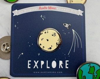 Moon or Earth Enamel Pin - Pin Badge - Moon Pin - Enamel Pin - Gift for Adventurers