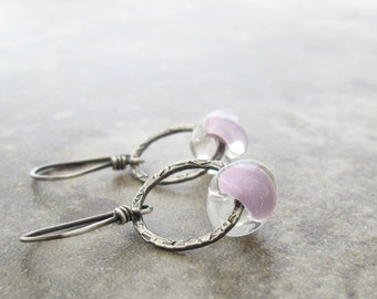 orchid lampwork glass and silver dangle earrings, lavender dangle earrings, metalwork dangle earrings