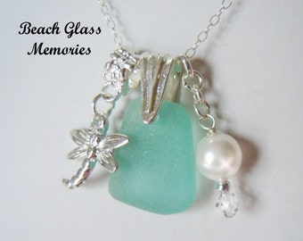 Sea Glass Necklace Turquoise Beach Glass Necklace Seaglass Jewelry