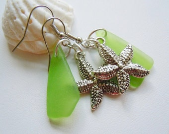Dangle Earrings Starfish Sea Glass Beach Glass Earrings, Sea Glass Earrings, Seaglass Jewelry