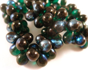 50 Emerald Czech Drop Beads 7x5mm Azure Finished Teardrop Glass - 50 pc - G6069-EAZ50