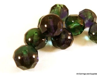 10 Czech Green Firepolished Faceted Abacus Rondelle Purple Blue 8x6mm - 10 pc - G6041-GB10